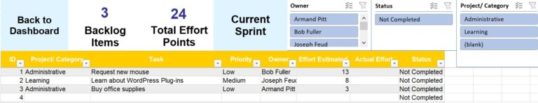 Backlog database for the Sprint Planning tool