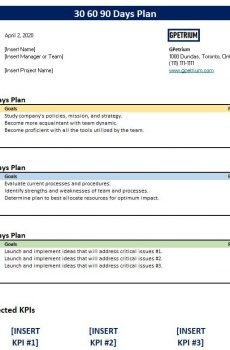 30 60 90 day plan report for printing