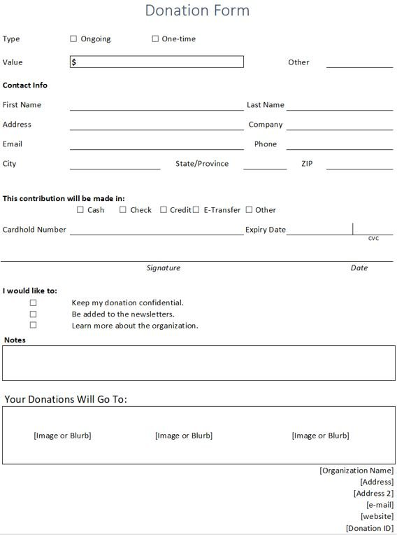 donation form overview