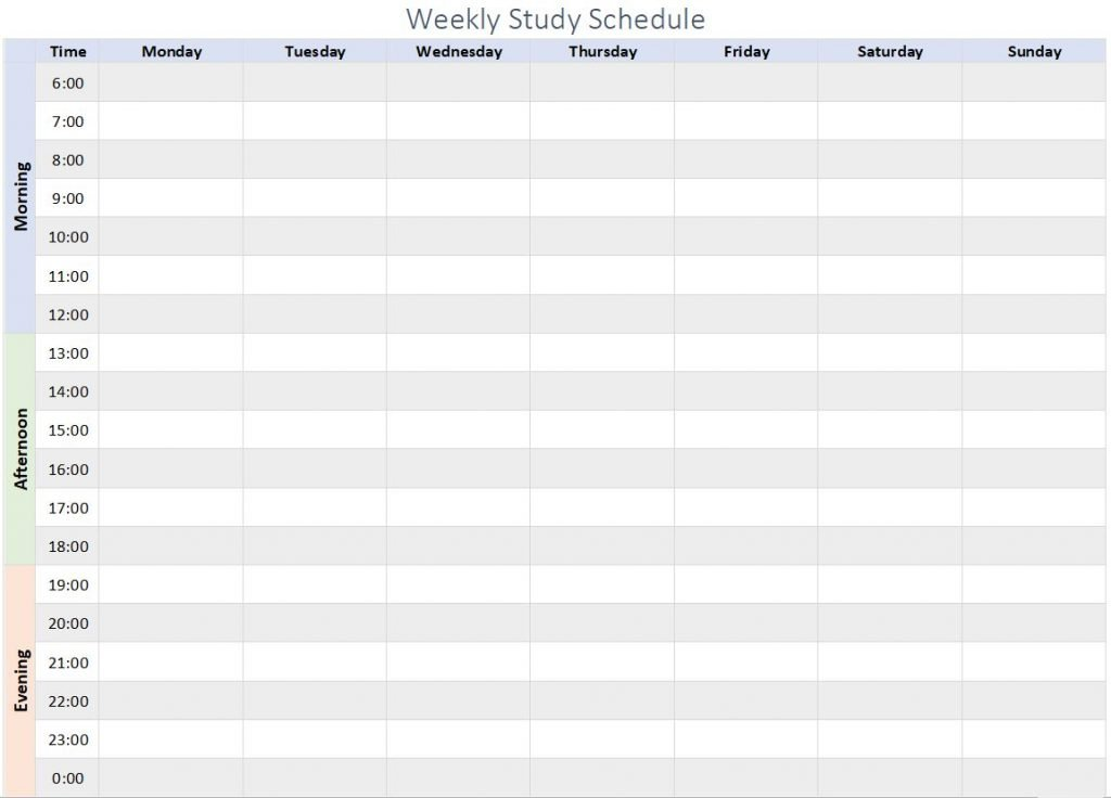 weekly study schedule overview