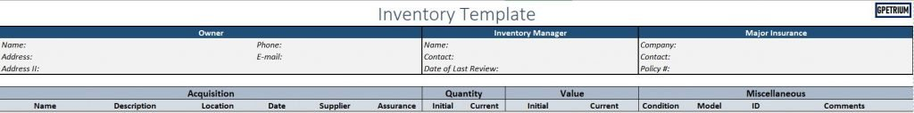 Inventory Template - meaning for each header