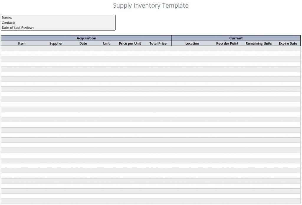 supply inventory template overview