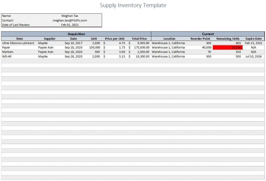 supply inventory template sample